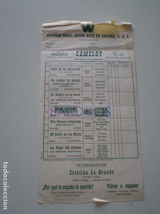 MARISOL PALOMO LINARES VOLVER A EMPEZAR // WARNER BROS. ESPAÑA SEVEN ARTS LISTA DE MATERIAL 1960S (Cine - Guías Publicitarias de Películas )