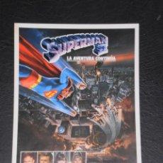 Cinéma: SUPERMAN II LA AVENTURA CONTINUA - GUIA PUBLICITARIA DE CINE- ORIGINAL 1980. Lote 140746738