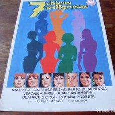 Cine: 7 CHICAS PELIGROSAS - NADIUSKA, JANET AGREN, ROSANA PODESTA - GUIA ORIGINAL IZARO 1979. Lote 141123206