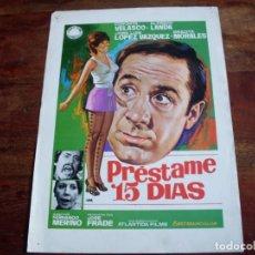 Cine: PRESTAME 15 DIAS - CONCHA VELASCO, ALFREDO LANDA, GRACITA MORALES - GUIA ORIGINAL IZARO . Lote 142606482