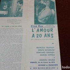 Cine: EL AMOR A LOS 20 AÑOS, CINE REX MURCIA, ENERO 1970. Lote 143393442