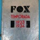 Cine: GUIA CATALOGO FOX , TEMPORADA 1933 1934 , VER FOTOS , ORIGINAL. Lote 146407010