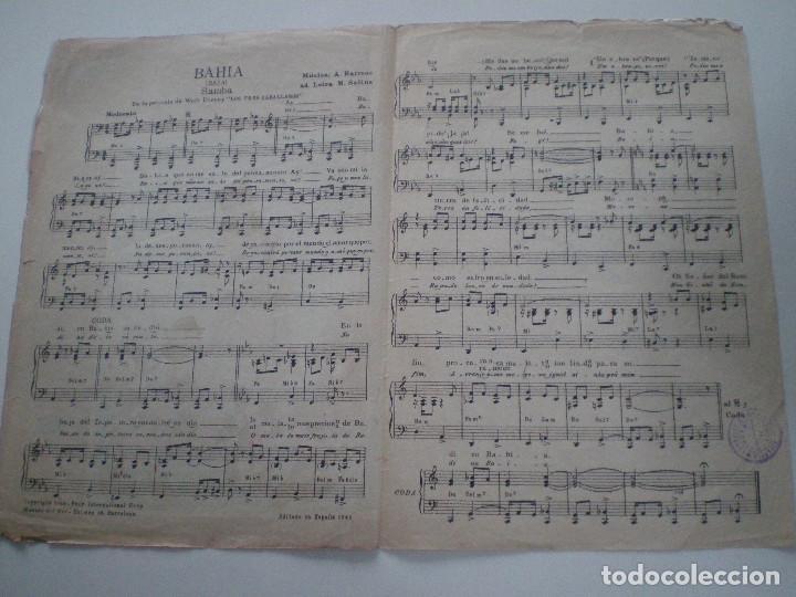 Cine: LOS TRES CABALLEROS DE WALT DISNEY - ANTIGUA PARTITURA MUSICA DEL SUR BARCELONA 1944 - Foto 2 - 147709434