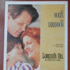 Cine: GUIA CINE 2 HOJAS: LORENZOS OIL NICK NOLTE SUSAN SARANDON. Lote 148961868