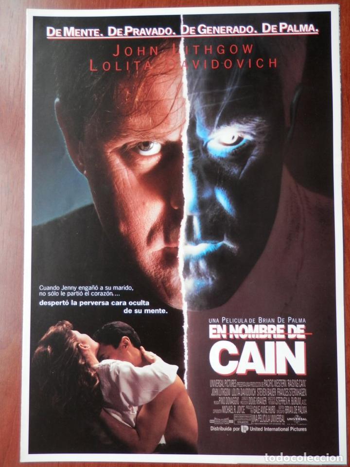 GUIA CINE 2 HOJAS: EN NOMBRE DE CAIN JOHN LITHGOW LOLITA DAVIDOVICH (Cine - Guías Publicitarias de Películas )