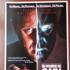 Cine: GUIA CINE 2 HOJAS: EN NOMBRE DE CAIN JOHN LITHGOW LOLITA DAVIDOVICH. Lote 148961912