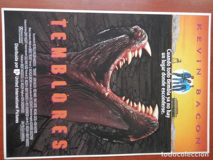 GUIA CINE 2 HOJAS: TEMBLORES KEVIN BACON FRED WARD (Cine - Guías Publicitarias de Películas )
