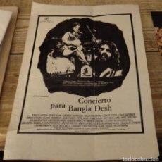 Cine: 1972 GUIA PUBLICITARIA DE (CONCIERTO PARA BANGLA DESH). Lote 149301266