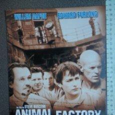 Cine: GUÍA CINE TRES HOJAS: ANIMAL FACTORY DE STEVE BUSCEMI - TOM ARNOLD MICKEY ROURKE. Lote 149337700