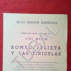 Cine: TUBAL 1963 ROMEO JULIETA Y LAS TINIEBLAS PROGRAMA DIPTICO CINE VICTORIA BARCELONA B01. Lote 149718826