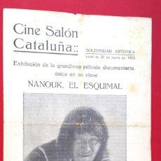 Cine: CINE MUDO - NANOUK EL ESQUIMAL - 1923 - DÍPTICO - ROBERT J. FLAHERTY. Lote 150557546