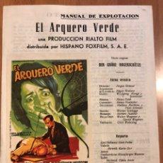 Cine: GUIA HISPANO FOXFILM EL ARQUERO VERDE.SOLIGO.GERT FROBE. Lote 151714742