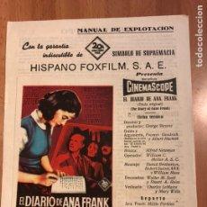 Cine: GUIA HISPANO FOXFILM EL DIARIO DE ANA FRANK.SOLIGO.MILLIE PERKINS.SHELLEY WINTERS. Lote 151719824