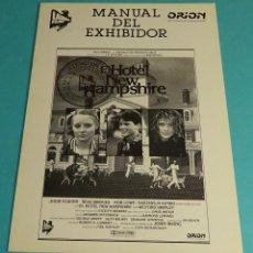 Cine: MANUAL DEL EXHIBIDOR EL HOTEL NEW HAMPSHIRE. JODIE FOSTER. BEAU BRIDGES. ROB LOWE. NASTASSJA KINSKI. Lote 152039742