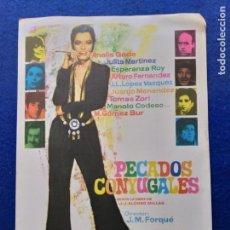 Cine: GUIA PUBLICITARIA ORIGINAL DE LA PELÍCULA: PECADOS CONYUGALES. DIRECTOR JOSÉ MARÍA FORQUÉ (1969). Lote 152205450
