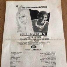 Cine: GUIA BLANCO ROJO Y SOFIA SOPHIA LOREN ADRIANO CELENTANO. Lote 152297594