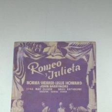 Cine: CINE. PUBLICIDAD. ROMEO Y JULIETA. CINE VALLS. 1940 VALLS. EL SALON DE MODA. Lote 154600610