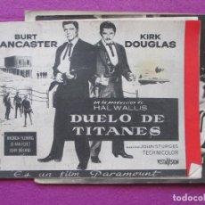 Cine: GUIA PUBLICITARIA + 3 FOTOS, DUELO DE TITANES, BURT LANCASTER, KIRK DOUGLAS, GF115. Lote 156170522