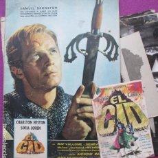 Cine: GUIA PUBLICITARIA + 10 FOTOS + PROG. MANO, EL CID, CHARLTON HESTON, SOFIA LOREN, GF116. Lote 156172550