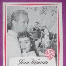 Cine: GUIA PUBLICITARIA, TRIGO Y ESMERALDA, JANE WYMAN, STERLING HAYDEN, G261. Lote 157001170