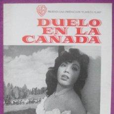 Cine: GUIA PUBLICITARIA, DUELO EN LA CAÑADA, MARY ESQUIVEL, JAVIER ARMET, WARNER BROS, G267. Lote 157002598