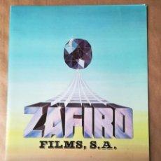 Cine: GUÍA CATÁLOGO LISTA DE MATERIAL PELÍCULAS ZAFIRO FILMS 1983. Lote 158870154