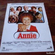 Cine: ANNIE - AILEEN QUINN,ALBERT FINNEY,CAROL BURNETT - DIR.JOHN HUSTON - GUIA ORIGINAL COLUMBIA AÑO 1982. Lote 159276474