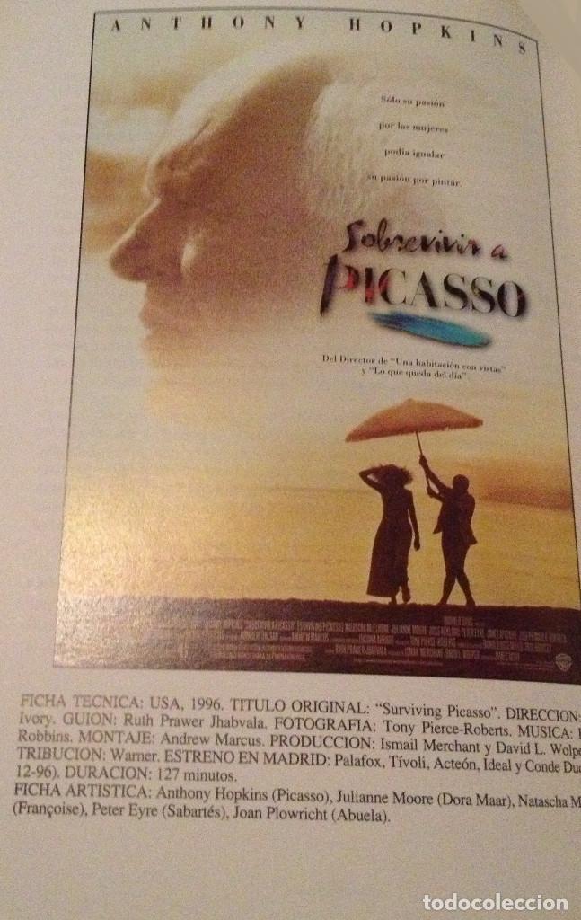 'SOBREVIVIR A PICASSO', CON ANTHONY HOPKINS. BIOPIC SOBRE EL PINTOR ANDALUZ. GUÍA DE CINE UNA HOJA. (Cine - Guías Publicitarias de Películas )