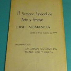 Cine: II SEMANA ESPECIAL DE ARTE Y ENSAYO. CINE NUMANCIA. AMIGOS CANARIOS DEL TEATRO, CINE Y MÚSICA. Lote 162424110