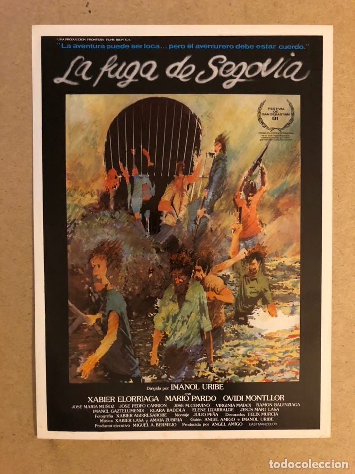 LA FUGA DE SEGOVIA (IMANOL URIBE). GUÍA PUBLICITARIA DE LA PELÍCULA. IDEAL PARA ENMARCAR. (Cine - Guías Publicitarias de Películas )
