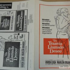 Cine: UN TRANVIA LLAMADO DESEO - GUIA PUBLICITARIA - MARLON BRANDO VIVIEN LEIGH ELIA KAZAN. Lote 162477226