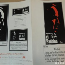 Cine: EL PADRINO - GUIA PUBLICITARIA - THE GOODFATHER MARLON BRANDO AL PACINO JAMES CAAN FRANCIS F COPPOLA. Lote 162480694