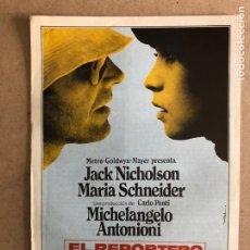 Cine: EL REPORTERO (JACK NICHOLSON, MARIA SCHNEIDER). GUÍA PROMOCIONAL DEL ESTRENO.. Lote 162714952