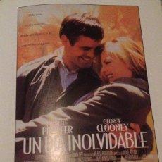 Cine: 'UN DÍA INOLVIDABLE', CON GEORGE CLOONEY. GUÍA DE CINE UNA HOJA.. Lote 163039594