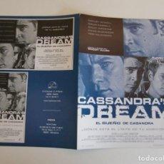 Cine: GUIA DOBLE DE CINE ORIGINAL ESTRENO / EL SUEÑO DE CASANDRA / WOODY ALLEN. Lote 163764554
