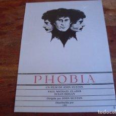 Cine: PHOBIA - PAUL MICHAEL GLASER, SUSAN HOGAN - DIR. JOHN HUSTON - GUIA ORIGINAL GLOBE FILMS AÑO 1980. Lote 164245734