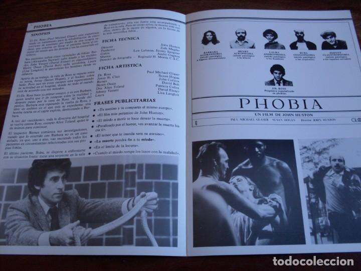 Cine: phobia - Paul Michael Glaser, Susan Hogan - dir. john huston - guia original globe films año 1980 - Foto 2 - 164245734