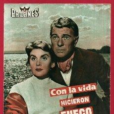 Cinema: GUIA CINE, CON LA VIDA HICIERON FUEGO , TIPO REVISTA , ORIGINAL , G1576. Lote 164512058
