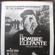 Cine: GUÍA PUBLICITARIA DE LA PELÍCULA EL HOMBRE ELEFANTE. Lote 164799914
