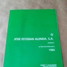 Cine: GUÍA CATÁLOGO LISTA DE MATERIAL PELÍCULAS JOSÉ ESTEBAN ALENDA 1984. Lote 165267950