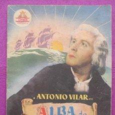 Cine: GUIA PUBLICITARIA, CINE, ALBA DE AMERICA, ANTONIO VILAR, G412. Lote 167950920