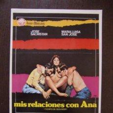 Cine: GUIA DE CINE ORIGINAL ESTRENO / MIS RELACIONES CON ANA / JOSE SACRISTAN / MARIA LUISA SAN JOSE. Lote 171764473