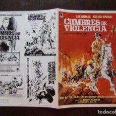 Cine: GUIA DOBLE DE CINE ORIGINAL ESTRENO / CUMBRES DE VIOLENCIA / LEX BARKER / ROBERT SIODMAK. Lote 172312137