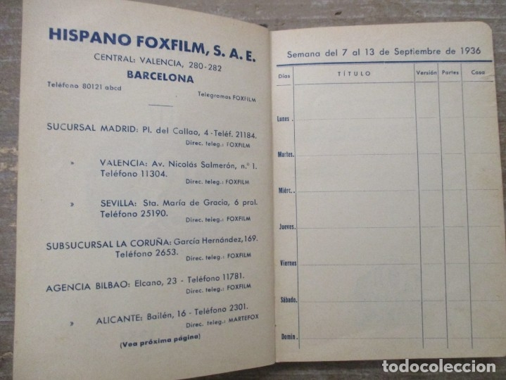 Cine: GUIA AGENDA PROGRAMACION 1936 / 1937 20th CENTURY FOX TEMPORADA - SIMIL PIEL GUERRA CIVIL RARISIMA - Foto 4 - 174966690