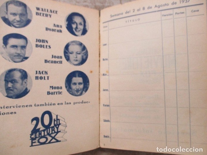 Cine: GUIA AGENDA PROGRAMACION 1936 / 1937 20th CENTURY FOX TEMPORADA - SIMIL PIEL GUERRA CIVIL RARISIMA - Foto 19 - 174966690