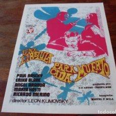 Cine: UNA LIBELULA PARA CADA MUERTO - PAUL NASCHY,ERIKA BLANC,LEON KLIMOVKY - GUIA ORIGINAL AITOR AÑO 1974. Lote 178905386