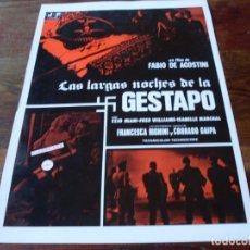 Cine: LAS LASGAS NOCHES DE LA GESTAPO - EZIO MIANI, ISABELLE MARCHAL - GUIA ORIGINAL JF FILMS AÑO 1977. Lote 179197607