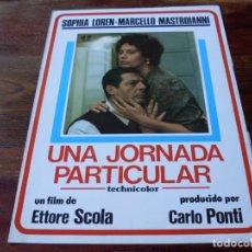 Cine: UNA JORNADA PARTICULAR - SOPHIA LOREN, MARCELLO MASTROIANNI - GUIA ORIGINAL JF FILMS AÑO 1977. Lote 179197697