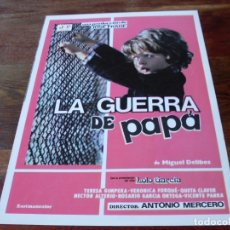 Cine: LA GUERRA DE PAPA - LOLO GARCIA, TERESA GIMPERA, VERONICA FORQUE - GUIA ORIGINAL JF FILMS AÑO 1977. Lote 179332268