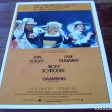 Cine: CAMPEON - JOH VOIGHT, FAYE DUNAWAY, JACK WARDEN, ARTHUR HILL - GUIA ORIGINAL C.I.C AÑO 1979. Lote 179332932